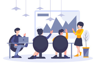 Business people in meeting room. Businessman presentation of the project in workplace. Flat design elements. Vector illustration. Workers at work place.