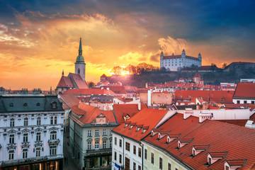 Fototapete - Bratislava. Aerial cityscape image of historical downtown of Bratislava, capital city of Slovakia during sunset.