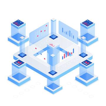 Data analytics platform isometric vector illustration. Networking and communication. Information storage. Futuristic workstation and datacenter. Blockchain technology cartoon conceptual design element