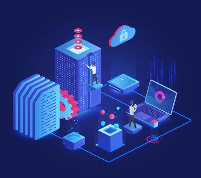 Database dark neon isometric vector illustration. Online server maintenance team. Service administration group. Futuristic cyberspace technology. Cloud datacenter cartoon conceptual design element