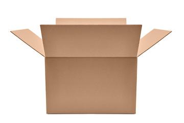 Obraz Otwarte pudełko kartonowe na białym tle - fototapety do salonu