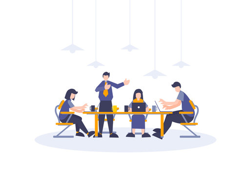 Team business working and discussing with flat people illustration of workers group for web and landing page element