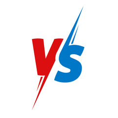Vs or versus text logo for battle or fight game vector flat cartoon red blue color symbol design emblem logotype isolated image