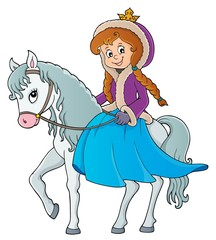 Fotobehang Voor kinderen Winter princess riding horse 1