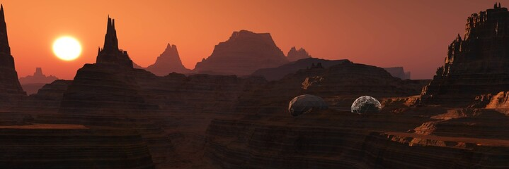 Foto op Aluminium Oranje eclat Mars at sunset, panorama of Mars, Martian base, 3D rendering
