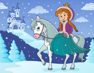 Photo sur Aluminium Enfants Winter princess riding horse 2