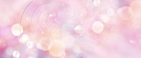 Foto op Plexiglas Spiraal Banner mit Goldenen Spiralen in sanftem rosefarbenem Licht