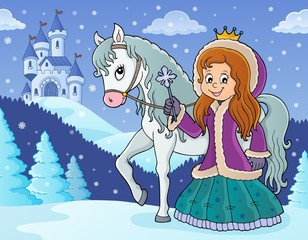 Photo sur Aluminium Enfants Winter princess with horse image 2