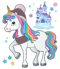 Papiers peints Enfants Winter unicorn theme image 1