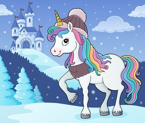 Photo sur Aluminium Enfants Winter unicorn theme image 2