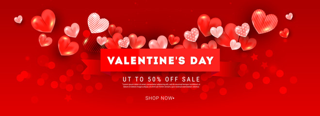 Valentines sale romantic vector banner composition with realistic decoration 3d red heart elements, ribbon on light pink background