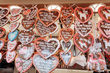 Gingerbread Hearts at the German Christmas Market. Traditional gingerbread with different...