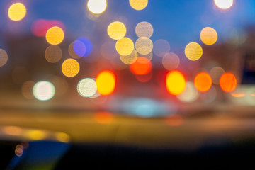 Wall Murals Blurred defocused colorful lights of traffic in the city