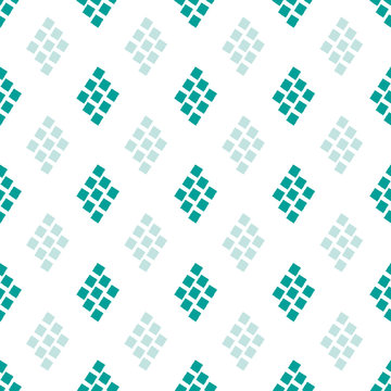Aqua blue and white diamond mosaic style pattern background. Seamless geometric vector design. Irregular painterly edges. Great for wellness, summer, sport, spa products, stationery,packaging, fabric