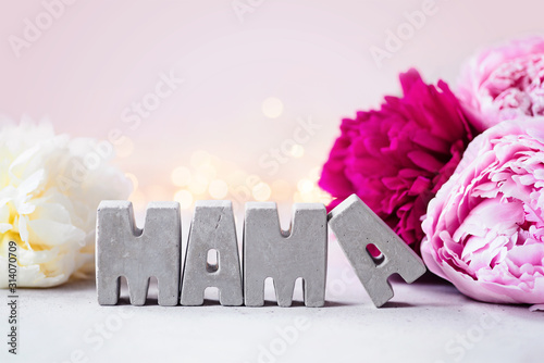 Thank you Mama! Happy Mother's Day! Concrete letters, soft pink and white peonies and romantic lights