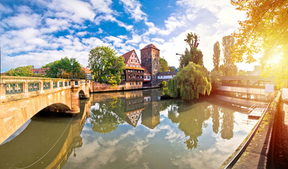 Nurnberg. Pegnitz river weaterfront Weinstadel and Henkersteg in Nuremberg sunrise view Fototapete