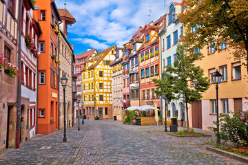 Photo sur Toile Lavende Nurnberg. Famous Weissgerbergasse historic street in Nuremberg old town view