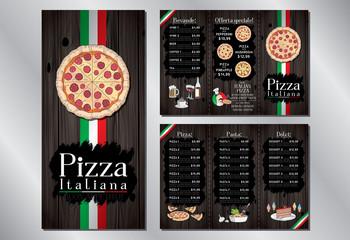 Italian pizza restaurant - menu/ flyer template - pizza, pasta, desserts, drinks - 3 x DL (99x210 mm)