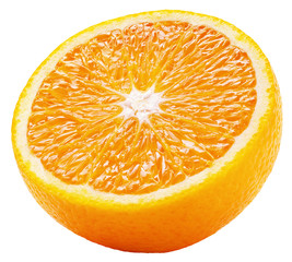 Half of orange citrus fruit isolated on white background with clipping path. Full depth of field.