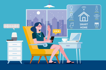 Woman controlled her Smart Home by a smart phone