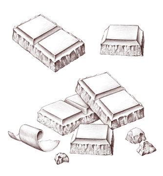 Hand drawn illustrations of chocolate bar