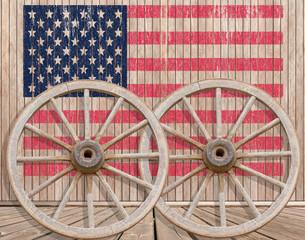 roues de chariot sur fond. De drapeau américain