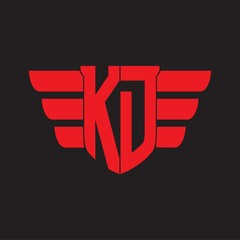 KD Logo monogram with emblem and wings element design template on red colors