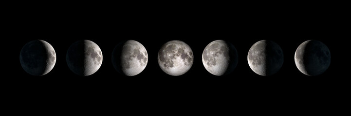 Moon phases, panoramic composite image. Elements of this image are provided by NASA