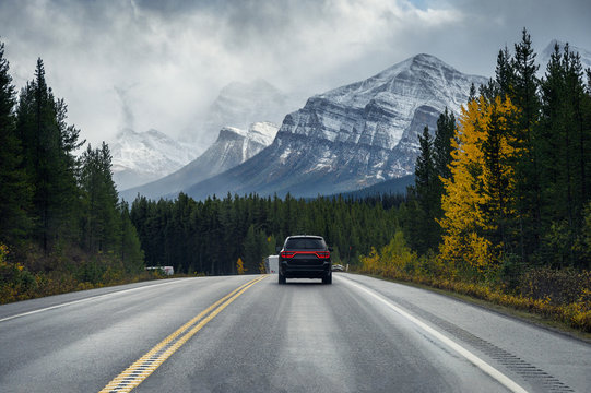 Road trip on highway with rocky mountains in autumn forest at Banff national park