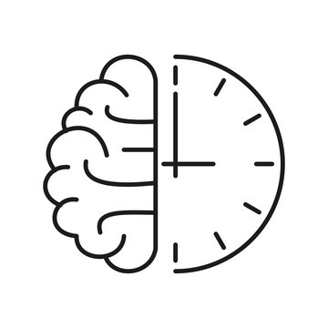 Human brain and clock icon. Outline thin line flat illustration. Isolated on white background.