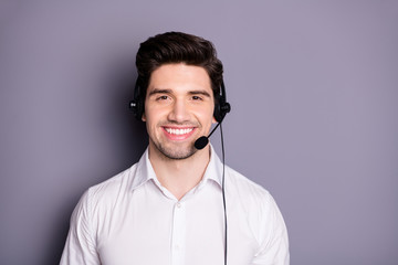 Portrait of confident cool positive call center worker can help with problems wear black earphones wear formalwear clothes isolated over grey color background Fototapete