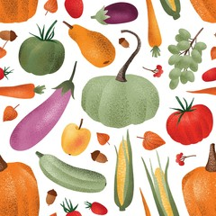 Photo sur Toile Les Textures Autumn harvest vector seamless pattern. Ripe vegetables fruits and berries cartoon illustrations. Fall season agricultural produce wallpaper design. Organic veggies store wrapping paper print