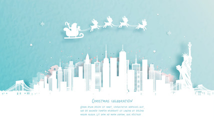 Fototapete - Christmas card with New York City, America famous landmark and Santa and reindeer. Christmas celebrations in paper cut style. Vector illustration. Vector illustration.