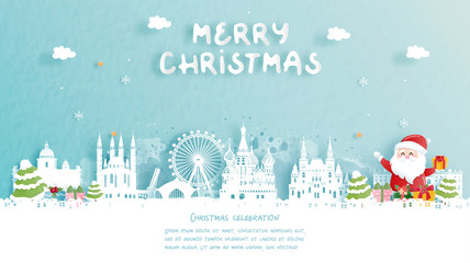 Fototapete - Christmas card with Russia famous landmark and Santa. Christmas celebrations in paper cut style. Vector illustration.