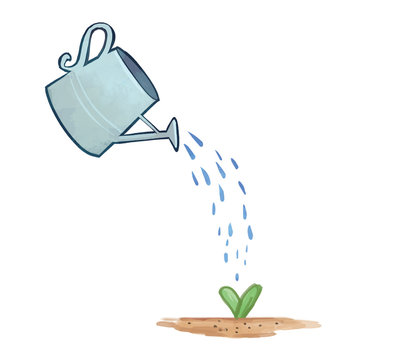 Watering Can With Plant, Sprouting Plant, Growing Plant