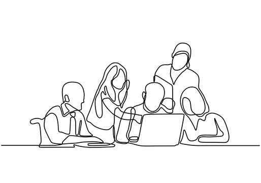 continuous line drawing of office workers at business meeting. Group of people collaborate and discuss a strategy.