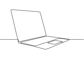 One line drawing of laptop gadget vector object. Illustration minimalist device technology theme. Fotobehang