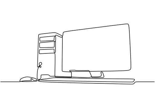 computer continuous line drawing. CPU and monitor minimalist technology concept. Vector illustration electronic object on white background.