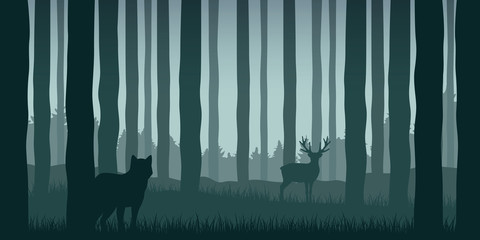 wolf is watching elk in green forest wildlife nature landscape vector illustration EPS10