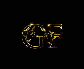 Golden G, F and GF Luxury Letter Logo Icon