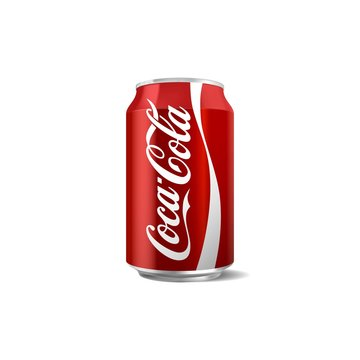 Vector illustration of classic coca-cola can isolated on white background for editorial use. Coca-Cola Company is the most popular market leader in USA