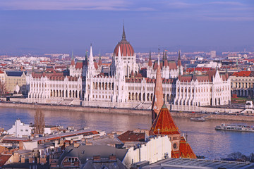 Panorama with building of Hungarian parliament at Danube river in Budapest