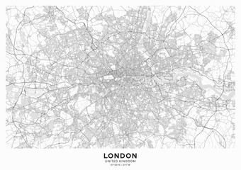 London city map poster. Detailed map of London (United Kingdom). Transport system of the city. Includes properly grouped map features (water objects, railroads, roads etc).