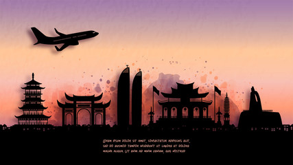 Fototapete - Watercolor of Xiamen, China silhouette skyline and famous landmark. vector illustration.