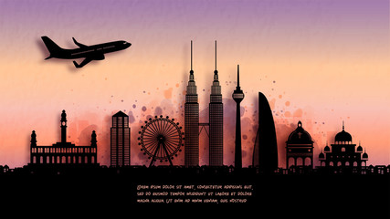 Fototapete - Watercolor of Kuala Lumpur, Malaysia silhouette skyline and famous landmark. vector illustration.