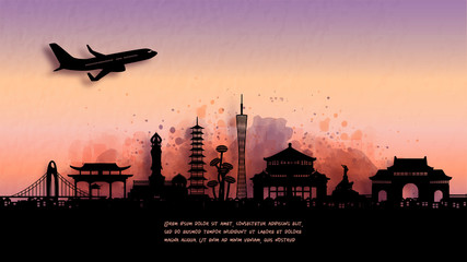 Fototapete - Watercolor of Guangzhou, China silhouette skyline and famous landmark. vector illustration.