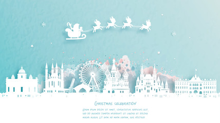 Fototapete - Christmas card with travel to Moscow concept. Cute Santa and reindeer. World famous landmark in paper cut style vector illustration.