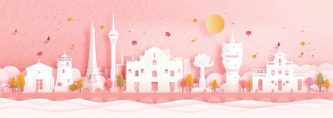 Wall Mural - Autumn in Macau, China with world famous landmark in paper cut style vector illustration.