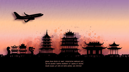 Wall Mural - Watercolor of Hangzhou silhouette skyline and famous landmark. vector illustration.