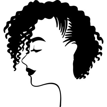 Afro Woman  with Short Natural Curls, African American woman ,  Black Woman  , cricut cut files , black history month, dxf, png